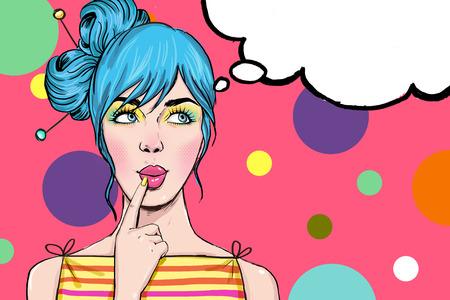 スピーチの泡を持つ少女のポップアート イラスト。ポップアートの女の子。パーティの招待状。誕生日グリーティング カード。ヴィンテージ広告ポ 写真素材