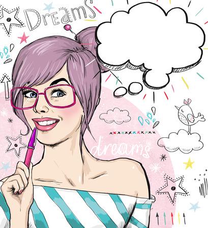 Mode schetsillustratie meisje met pen in de hand met tekstballon. Student meisje. Jeugd. Jonge student aan de les. Jong meisje met een gedachte bel. Jeugd stijl poster. Slim en nieuwsgierig meisje.