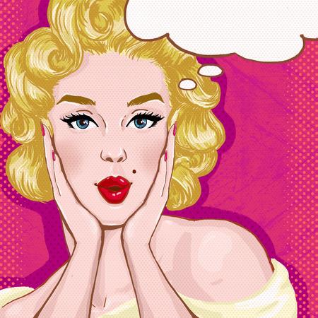 rubia: Ilustración del arte pop de la muchacha rubia con el discurso bubble.Pop Arte chica. Invitación de la fiesta. Saludo de cumpleaños card.Hollywood película cartel publicitario star.Vintage. Mujer cómica con bocadillo. Sexy