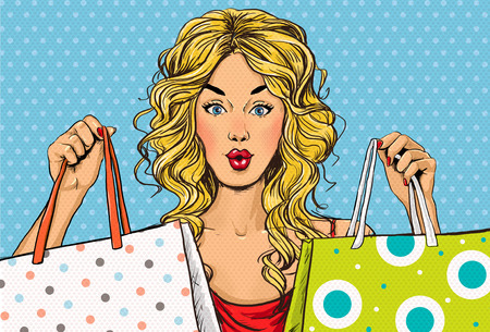 Pop Art blonde vrouwen met boodschappentassen in de hands.Shopping Time.Sale en korting tijd. Black Friday.Fashion days.Pop kunst girl.Hollywood film star.Shopaholic blond meisje met bags.Sale in de winkel.