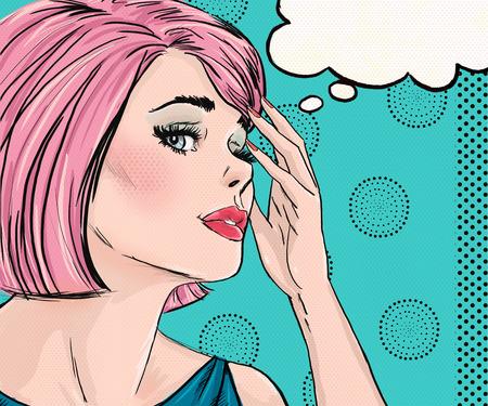 comic: Ilustraci�n del arte pop de la mujer sorprendida con el discurso bubble.Pop Arte chica. Ilustraci�n del c�mic. Pop Pel�cula Arte woman.Hollywood cartel publicitario star.Vintage.