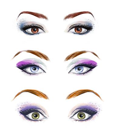 ojos: Conjunto de ojos femeninos y la imagen de las cejas con la moda hermosa conforman. Ilustración de moda.