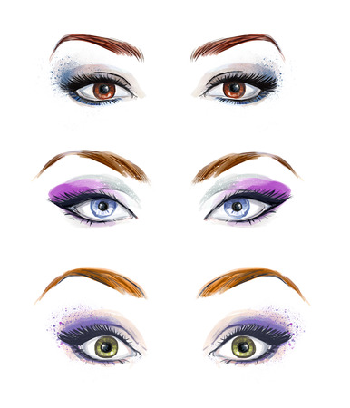Set of female eyes and brows image with beautifully fashion make up. Fashion illustration.