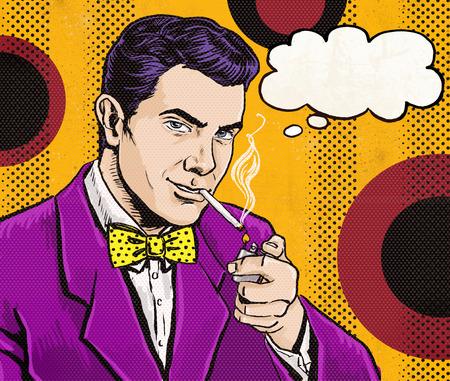 hombre fumando puro: Pop Art Vintage Hombre con el cigarrillo y con el habla bubble.Party invitación. Hombre de comics.Playboy.Dandy. Club de caballero. Foto de archivo