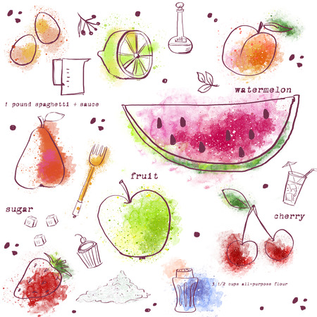 Seamless pattern with kitchen items.Stylish fruits:watermelon,pear, lemon,strawberries,peach,cherry.Food background. Kitchen decor design. Cookbook illustration. Book of recipes illustration Imagens
