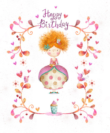 Awesome Happy birthday card in cartoon style. Cute small princess with cup of tea in flowers, hearts, birds. Childish card in sweet colors.Little Princess.Birthday greeting card.Party invitation.