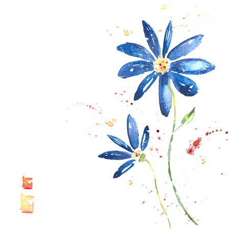 Beautiful summer blue flowers, watercolor illustration. Floral background. Watercolor floral seamless pattern.Stylized blue flowers illustration. Postcard design. Isolated blue flowers. I love you.