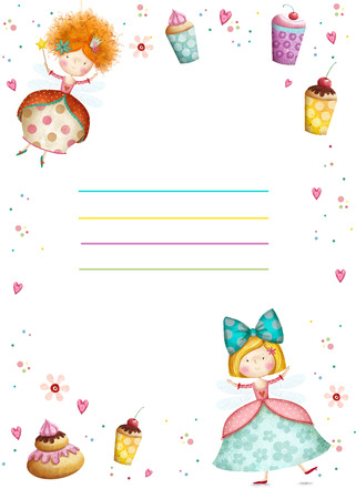 Happy Birthday Invitation.Party invitation.Cute small princesses  with cupcakes  flowers, hearts. Childish card in sweet colors.Little Princess.