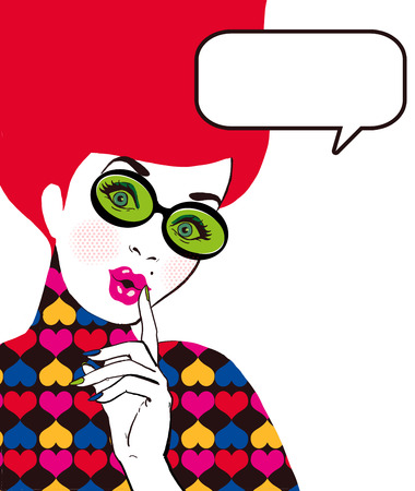Pop Art illustration of woman with the speech bubble in glass.Pop Art girl.