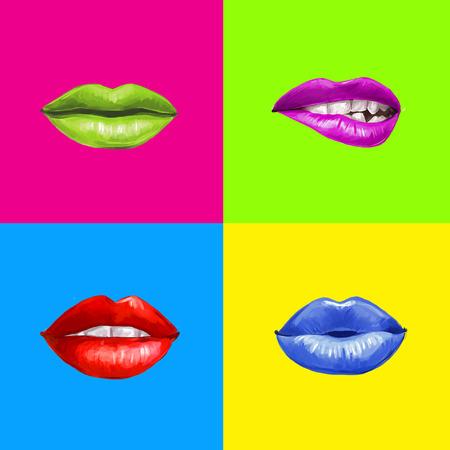 Pop lips.Lips arte sfondo. Rossetto advertisement.Smiley lips.Temptation, amore, felice, lussuria, bacia le labbra. Labbra set isolato. Elemento di design. Labbra rosse. Labbra di sfondo. Denti sani e bianchi. Archivio Fotografico - 43691500