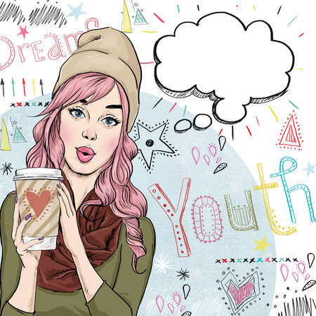 cute teen girl: Fashion sketch illustration of girl with coffee cup in the hand with speech bubble. Student girl. Youth.Young girl with thought bubble. Youth style poster.