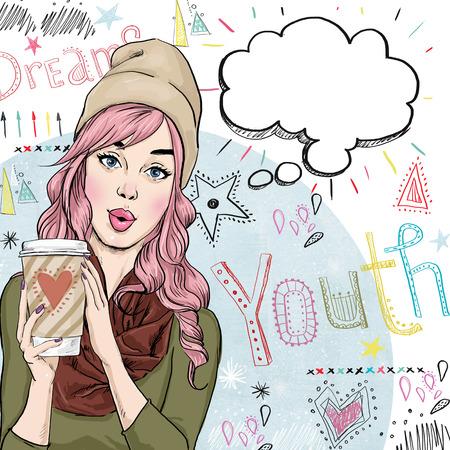 comic: Ilustración Bosquejo de la manera de la muchacha con la taza de café en la mano con la burbuja del discurso. Muchacha del estudiante. Chica Youth.Young con burbuja de pensamiento. Cartel del estilo de la Juventud.