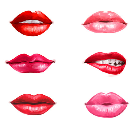 sexy nude women: Lips set isolated on white background. design element.Red lips.Lips background. Lipstick advertisement. Smiley lips.Temptation, love, happy, lust,kiss lips. Healthy and white teeth.