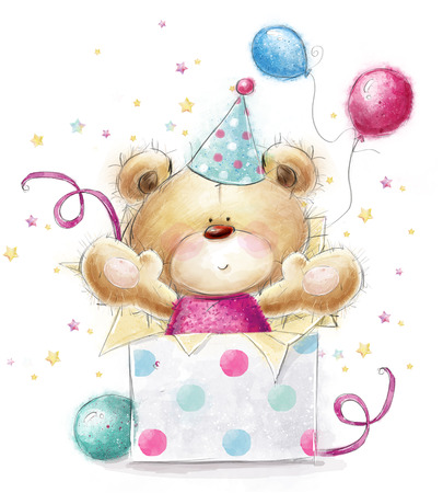 Teddybeer met de gift.Childish illustratie in zoete colors.Background met beer en geschenken en ballonnen. Hand getrokken teddybeer op een witte achtergrond. Gelukkige Verjaardag kaart
