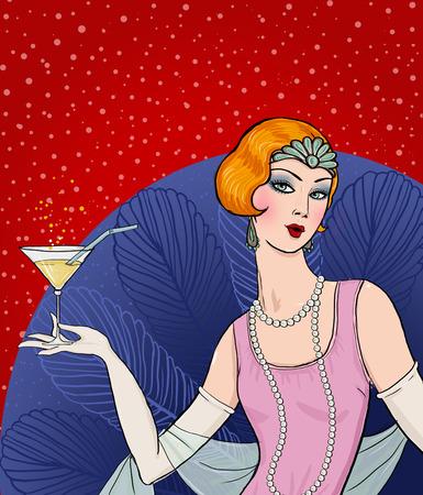 フラッパー女の子: レトロなパーティの招待状のデザイン。ガラスのアールデコの女性。レトロな誕生日の招待状。偉大なギャツビー スタイル パー