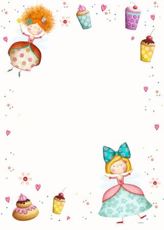 princesa: Feliz Cumpleaños Invitation.Party invitation.Cute pequeñas princesas con magdalenas flores, corazones. Tarjeta Infantil en dulce colors.Little princesa.