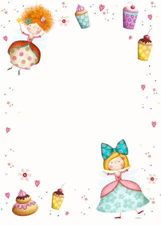 fairy cakes: Happy Birthday Invitation.Party invitation.Cute small princesses  with cupcakes  flowers, hearts. Childish card in sweet colors.Little Princess.