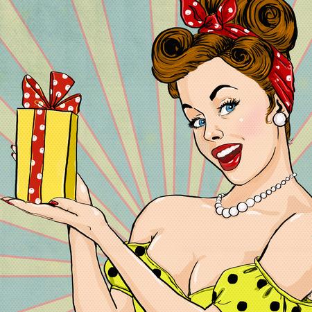 sorpresa: Muchacha con el regalo en estilo vintage. Pin encima de la muchacha. Invitación de la fiesta. Saludo de cumpleaños ilustración card.Pop arte de la mujer con la chica gift.Pop Arte. Pop cartel publicitario Arte girl.Vintage. Foto de archivo