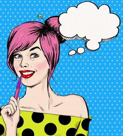 femmes souriantes: Fashion pop art illustration fille avec un stylo dans la main avec bulle. Student girl. Jeunesse. Jeune �tudiant � la le�on. Jeune fille avec bulle de pens�e. Affiche de style de la jeunesse. Pop Art fille. Banque d'images