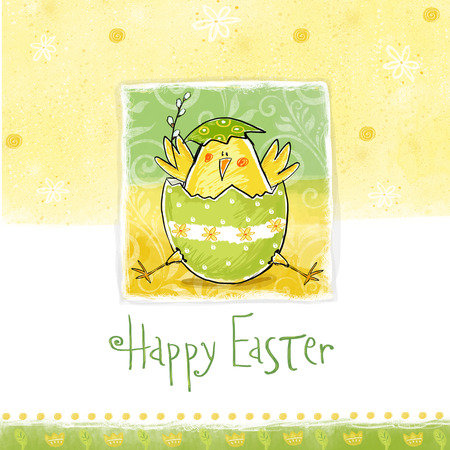 cartoon chicken: Happy easter greeting card. Cute chicken with text in stylish colors. Concept holiday spring cartoon greeting card.Congratulation with Easter Stock Photo