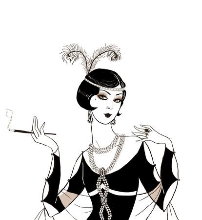 flapper: Chica de la aleta: invitación de la fiesta mujeres deco design.Art retro con la invitación del cumpleaños de cigarrillos .retro. Gran partido del estilo Gatsby. Jazz partido cartel invitación o diseño de la tarjeta.