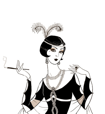 flapper: Flapper girl: Retro party invitation design.Art deco women with cigarette .Retro birthday invitation. Great Gatsby style party. Jazz party invitation poster or card design.