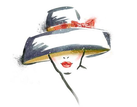 時尚: 縱向婦女帽子.Abstract水彩畫。時尚illustration.Red嘴唇
