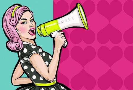 vrouwen: Pop art meisje met megafoon. Vrouw met luidspreker. Meisje aankondigen korting of verkoop. Winkeltijd. Protest, vergadering, feminisme, vrouw rechten, vrouw protest, meisjes macht. Stockfoto