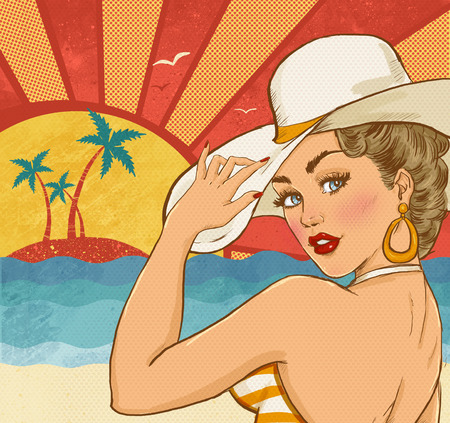 pop up: Comic illustration of girl  on the beach. Pop Art girl. Party invitation. Hollywood movie star.Vintage advertising poster. Vacations poster. Tourism poster. Sexy woman on the beach. Party on the beach Stock Photo