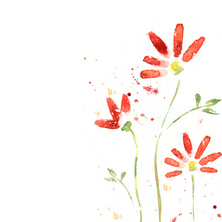 Beautiful summer red flowers, watercolor illustration. Floral background. Watercolor floral seamless pattern. Stylized red flowers illustration. Postcard design. Isolated red flowers. I love you.
