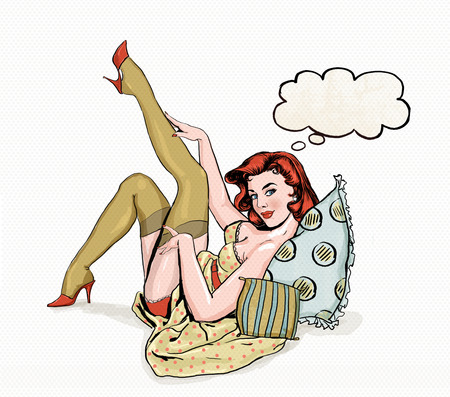girl mouth: Pin up illustration of woman with the speech bubble.Pin up girl. Party invitation. Birthday greeting card.Vintage greeting card