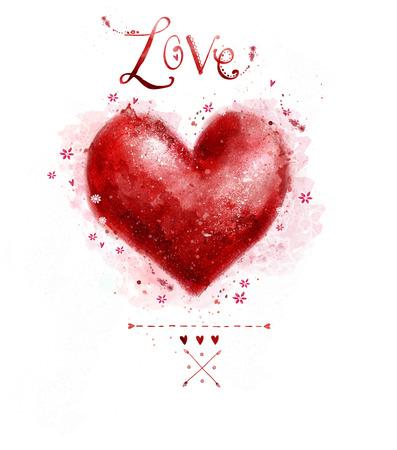carta de amor: Acuarela coraz�n rojo. Dise�o element.Save la fecha de fondo. Fondo de la vendimia. San Valent�n de fondo. Dibujado a mano. Coraz�n de Grunge. Dise�o del amor del coraz�n. D�a de San Valent�n