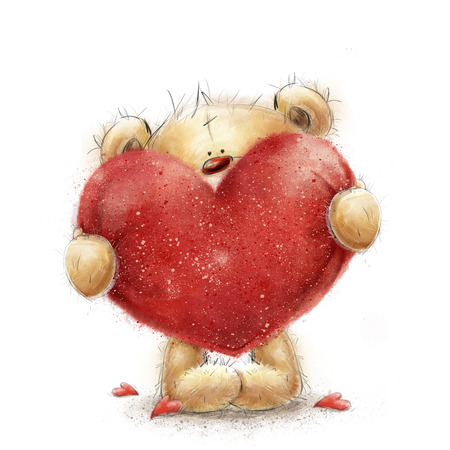 love card: Teddy bear with the big red heart.Valentines greeting card. Love design.Love.I love You card. Love poster. Valentines day poster. Cute teddy bear holding big red heart. Marry me. Be my wife.Love heart