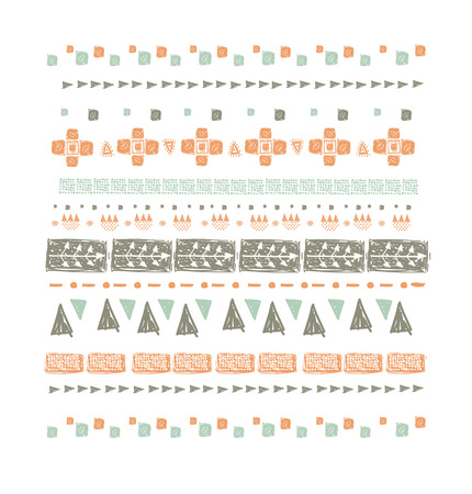 Abstract ethnic seamless pattern in style of primitive culture. Ethnic background.Grunge background.. Imagens