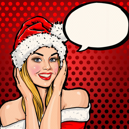 Girl in Santa hat with speech bubble on red background.Christmas Santa hat woman portrait .Smiling happy girl. Blond girl in Santa hat. Christmas party poster. New year party. Christmas postcard. Sexy