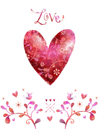 wooing: Love. Watercolor red heart. Design element.Save the date background. Vintage background. Valentine background. Hand drawn. Grunge heart. Love heart design. Valentine day