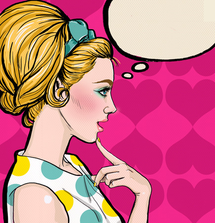 Pop Art illustration of blond girl in profile with the speech bubble.Pop Art girl. Party invitation. Birthday greeting card.Vintage advertising poster. Comic woman with speech bubble. Sexy disco girl. Stock Photo
