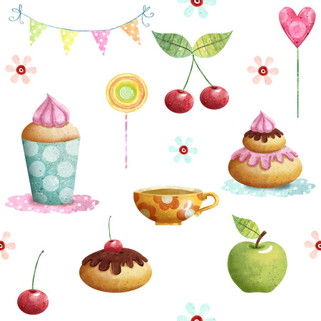 Happy Birthday pattern made of cupcake, cherry, apple, candies, flowers.Birthday background.Party background.