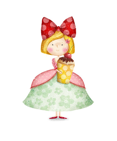 princess dress: Cute small girl with cupcake Childish card in sweet colors.Little Princess.Birthday greeting card.Tea party invitation.Fairytale princess with cupcake in her arms. Little queen. Invitation for party.