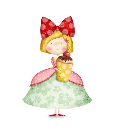 Pequeña muchacha linda con la magdalena tarjeta de Childish en dulce colors.Little Princess.Birthday partido card.Tea saludo invitation.Fairytale princesa con la magdalena en sus brazos. Pequeña reina. Invitación para la fiesta.