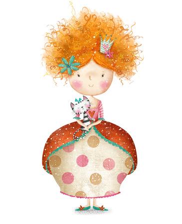 princesa: Pequeña princesa linda con la tarjeta de cat.Childish en dulce colors.Little Princess.Birthday princesa pelirroja card.Little saludo, heredero de la princesa throne.Fairytale con un gatito en sus brazos. Pequeña reina