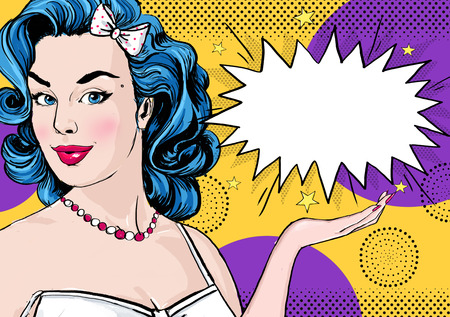 girl: Pop Art illustration of woman with the comic speech bubble .Pop Art girl. Party invitation. Birthday greeting card.Cute girl surprised. Vintage pop art poster.