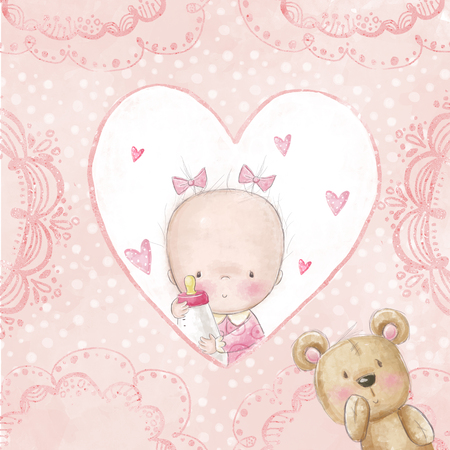 nene y nena: Baby shower saludo card.baby niña con peluche, amor de fondo para la invitación children.Baptism. Diseño de tarjeta de recién nacido. Diseño de portada de álbum de fotos recién nacido. Es un diseño de la tarjeta de la muchacha.