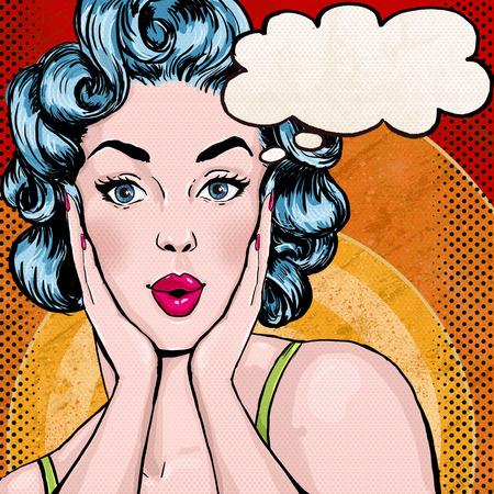 amantes: Ilustraci�n del arte pop de la mujer con el discurso bubble.Pop Arte chica. Invitaci�n de la fiesta. Saludo de cumplea�os card.Pop Arte girl.Hollywood pel�cula cartel publicitario star.Vintage. Mujer c�mica con bocadillo Foto de archivo