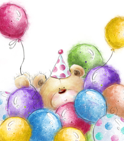 カラフルな風船で可愛いテディベア。クマと風船の背景。誕生日グリーティング カード。パーティの招待状。パーティーの風船。
