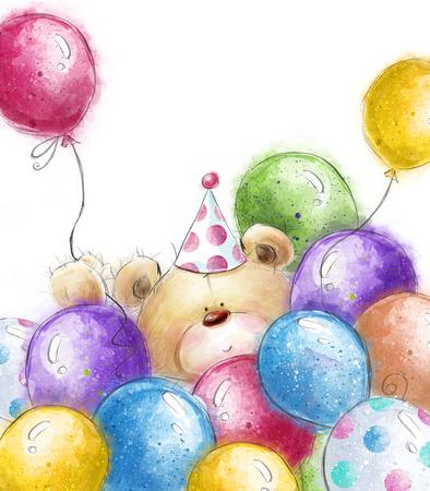 oso de peluche: Lindo oso de peluche con el balloons.Background colorido con el oso y tarjeta de felicitación balloons.Birthday. Invitación de la fiesta. Globos del partido.