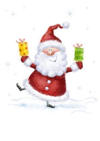 雪背景にサンタ クロース。クリスマスのグリーティング カード。明けましておめでとう。クリスマス カードと結婚します。クリスマス ギフト。ク