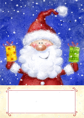 snow background: Santa Claus on snow background. Christmas greeting card. Happy New Year. Marry Christmas card. Christmas gift. Christmas  gifts.