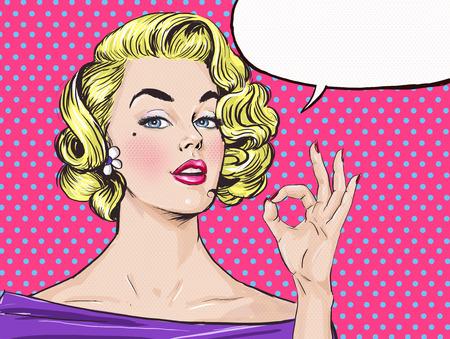an open mouth: Arte pop de la muchacha rubia est� mostrando un signo de OK con bocadillo, chica .Pop Arte. Invitaci�n de la fiesta. Tarjeta de felicitaci�n de cumplea�os. pel�cula star.Vintage cartel de publicidad. Mujer c�mica con bocadillo. Sexy