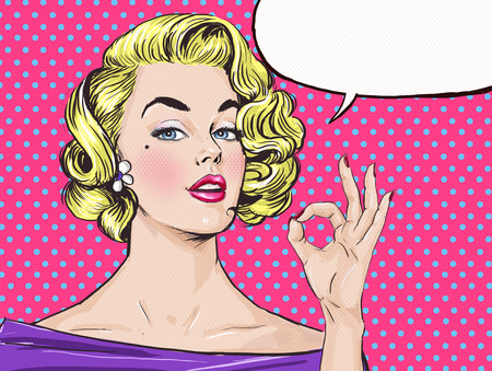 femme bouche ouverte: Pop Art fille blonde montre signe OK avec bulle, fille .Pop Art. Invitation de f�te. Anniversaire carte de voeux. affiche du film publicitaire star.Vintage. Comic femme avec bulle. Sexy